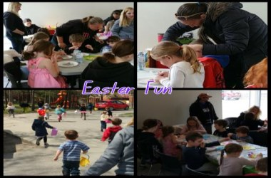 Families participating in Easter activities