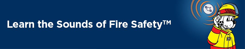 Learn the Sounds of Fire Safety banner with Sparky the Fire Safety Dog