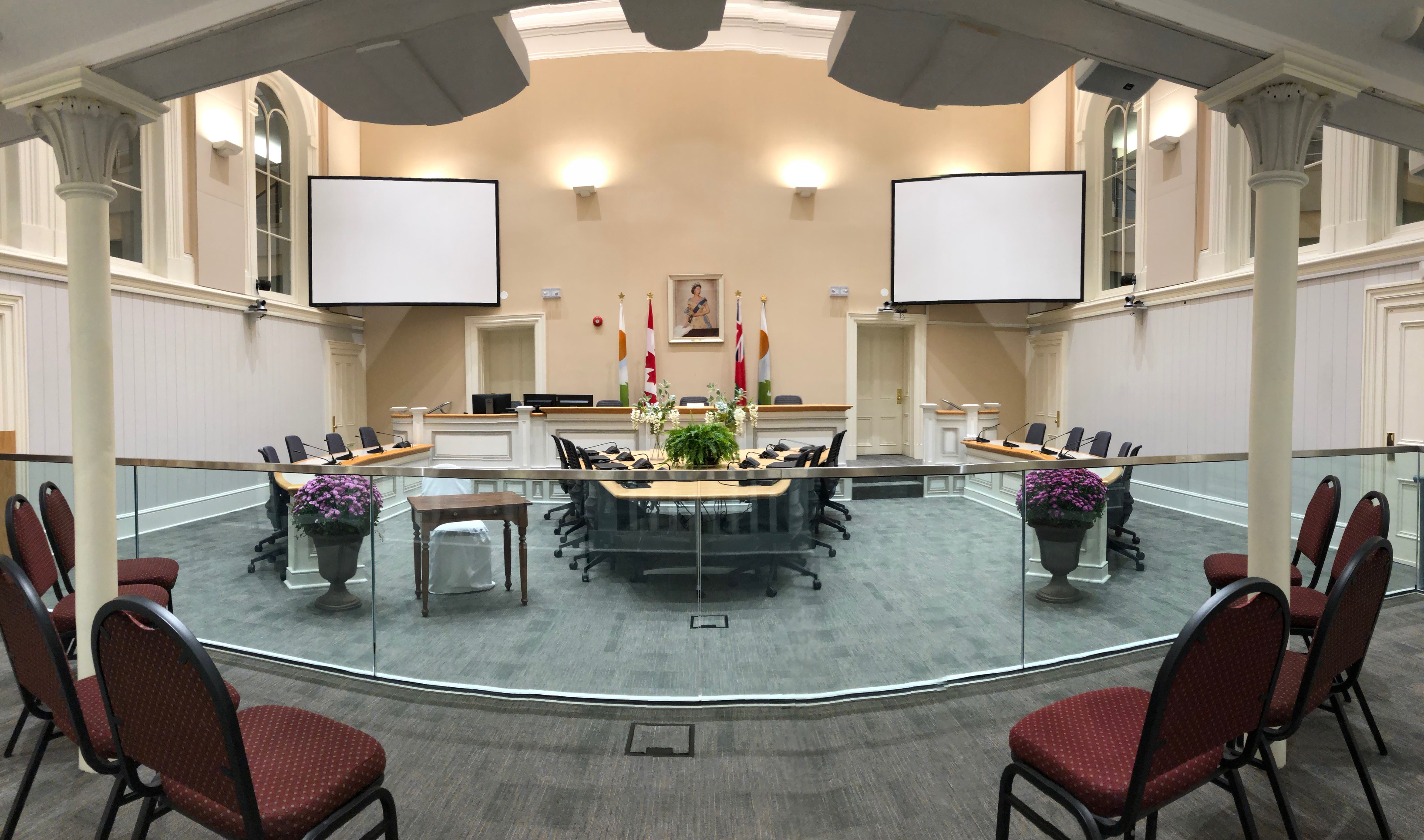 Kawartha Lakes Council Chambers decorated for a wedding
