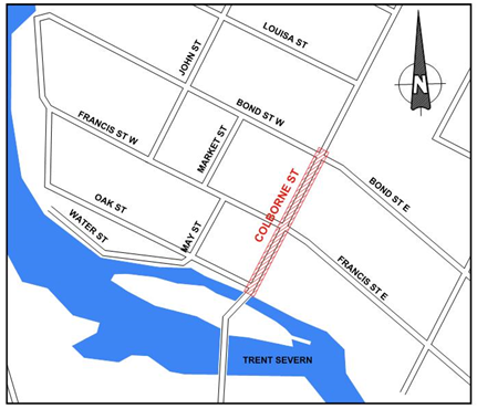 Reconstruction area for Colborne Street in Fenelon Falls