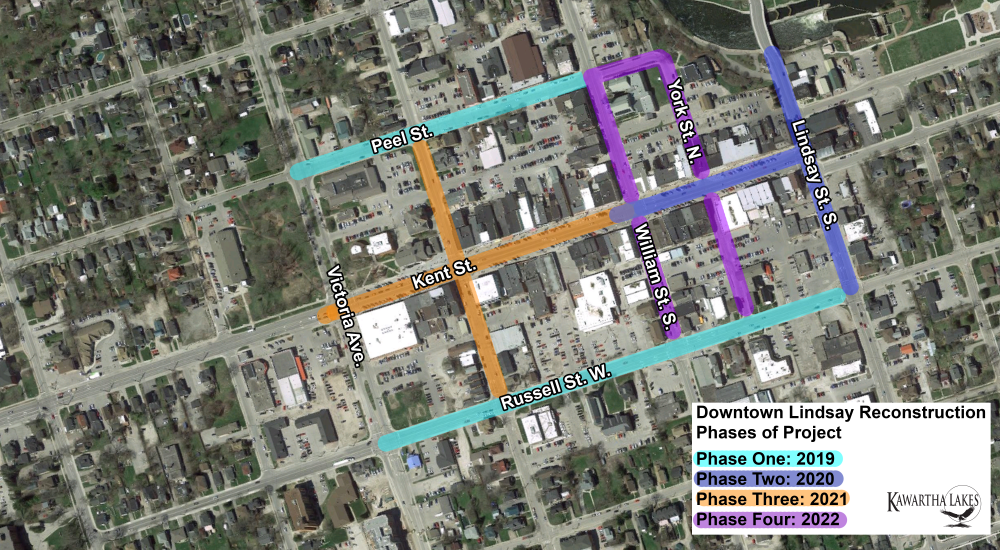Downtown Lindsay Phases outlined