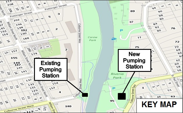 Map showing the existing and new pumping station locations at Rivera Park
