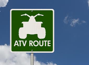 Municipal ATV route road sign