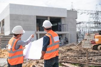 Engineers building factory