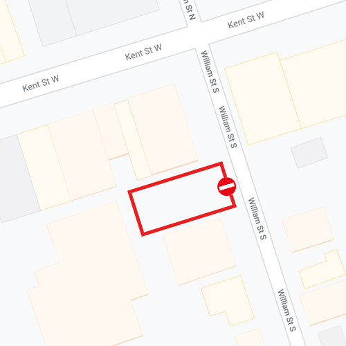 Map of lot closure on William Street South in Lindsay
