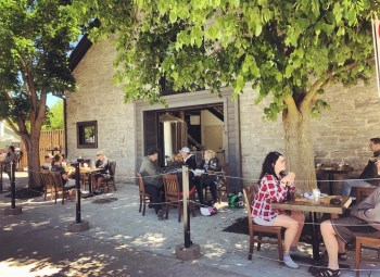 Fenelon Brewing Co. patio during Stage 2 reopening