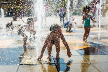 kids playing in a splash pad