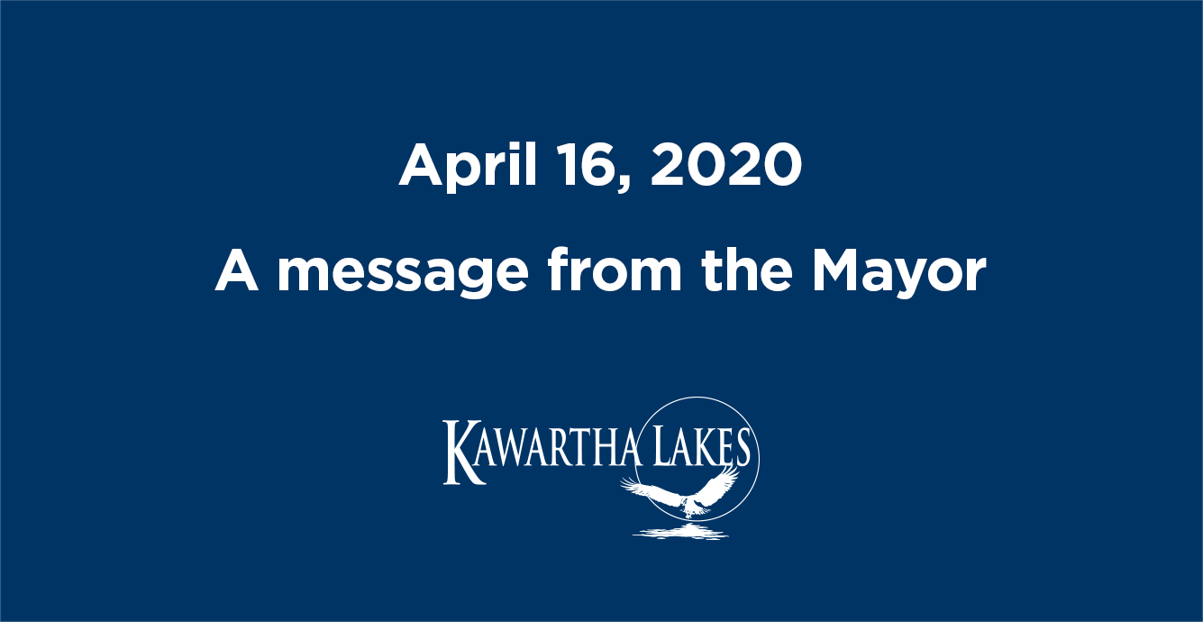 April 16 2020. A message from the Mayor
