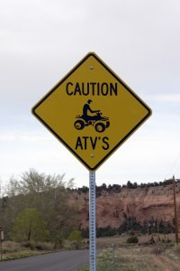 ATVs on road sign