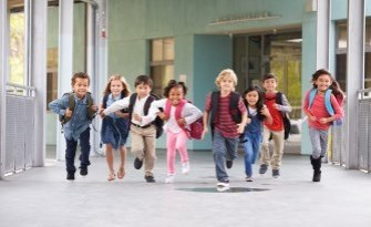 Kids running out of school