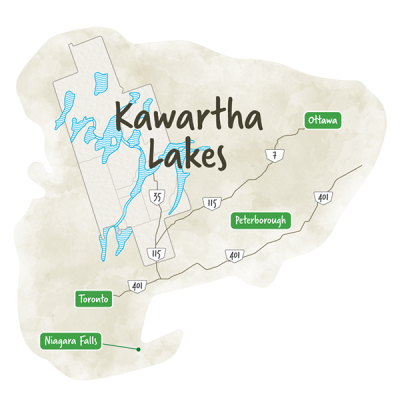 Concept map of Kawartha Lakes and area