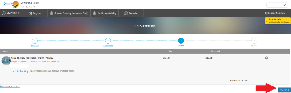 Cart Summary screen